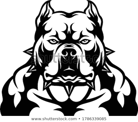 Logo of angry dog with strong collar. Aggressive pet. Stock photo © popaukropa