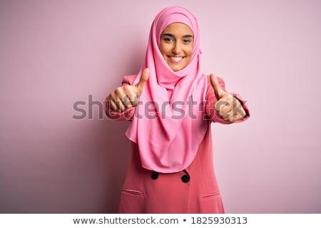 Stockfoto: Gelukkig · moslim · zakenvrouw · teken · zakenvrouw