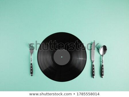 Szett zene fekete bakelit retro tányér Stock fotó © popaukropa