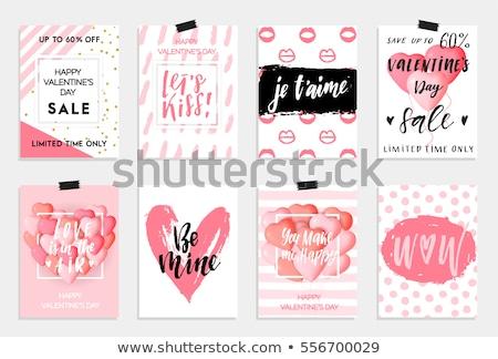 Valentin nap kártya enyém Valentin nap piros vízfesték Stock fotó © mcherevan