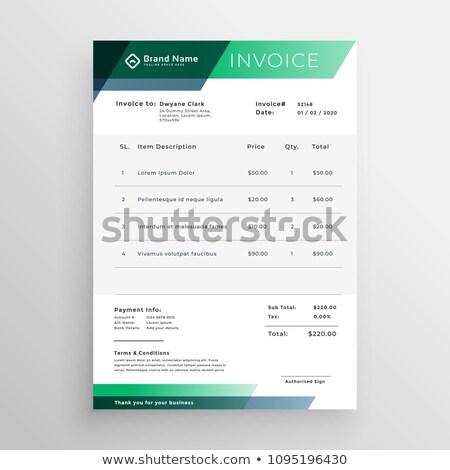 professional green geometric invoice template design Stock photo © SArts