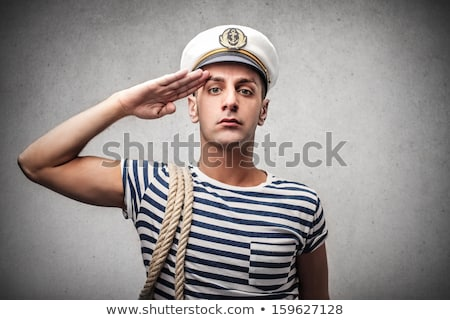 Young marine woman fashion portrait sailor hat Stock photo © CandyboxPhoto