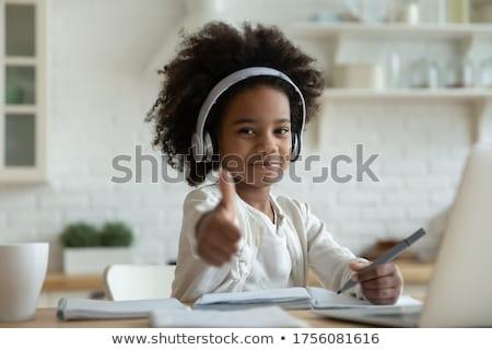 Schoolmeisje zwarte succes positief ingesteld Stockfoto © toyotoyo