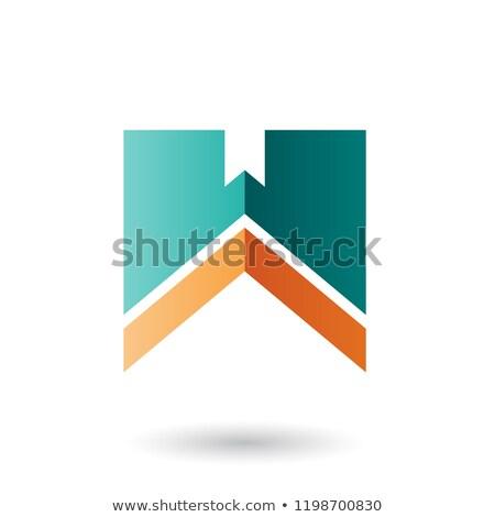 Yeşil turuncu w harfi şerit vektör yalıtılmış Stok fotoğraf © cidepix