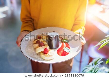 Serwowane jogurt maliny serwetka powyżej shot Zdjęcia stock © dash