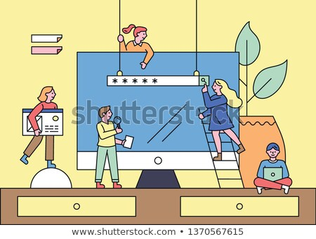 team work   flat design style colorful banner stock photo © decorwithme
