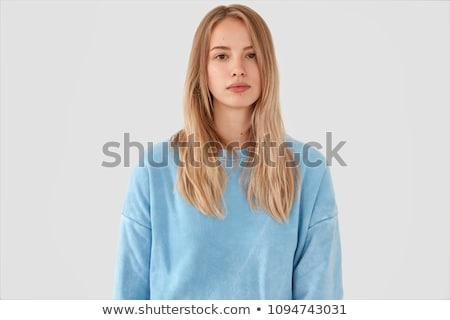 肖像 沈痛 若い女の子 セーター 孤立した ストックフォト © deandrobot