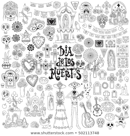 Dia De Los Muertos Line Icons Set Stock photo © Anna_leni
