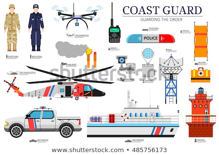 coast guard day flat icoms set. Guarding the order background. Devices infographic concept. Layout i Stock photo © Linetale