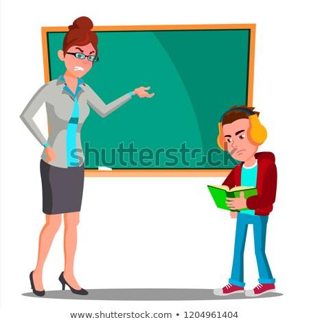 öfkeli öğretmen tahta çocuk büro bakıyor Stok fotoğraf © pikepicture