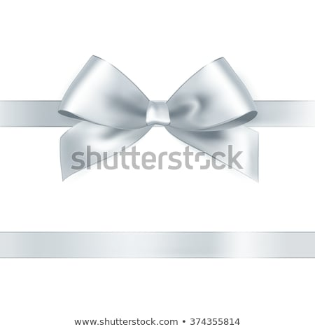Shiny satin ribbon on white background. Vector silver bow Stock photo © fresh_5265954
