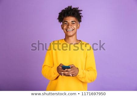 Retrato adolescente menino africano penteado sorridente Foto stock © deandrobot