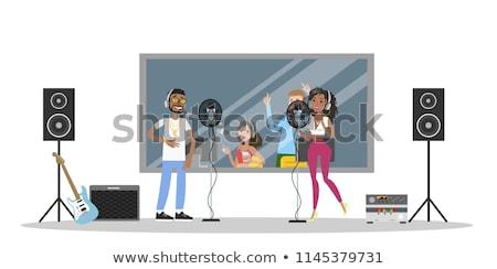 lány · fejhallgató · mikrofon · fekete · sziluett · fehér - stock fotó © pikepicture