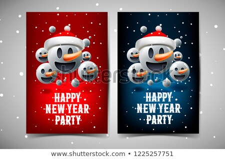 雪だるま · 顔文字 · クリスマス · 着用 · 先頭 · 帽子 - ストックフォト © ikopylov