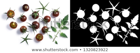 Tondo nero cherry tomatoes, paths, top view Stock photo © maxsol7