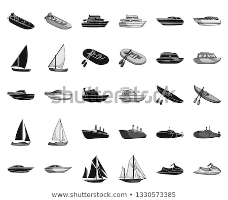 water transport variety of ships boats set vector foto stock © robuart