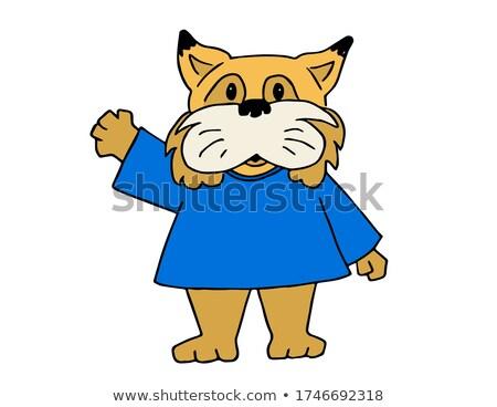 Cartoon Bobcat Waving Stock photo © cthoman