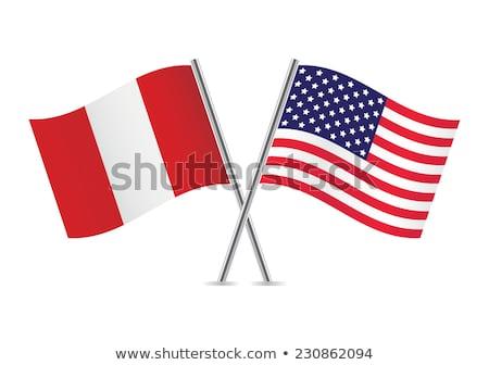 Dos banderas Estados Unidos Perú aislado Foto stock © MikhailMishchenko