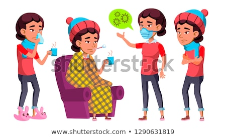 Asian Girl Set Vector. High School Child. Sick, Cough. Runy Nose. Health. Educational. For Cover, Pl Stock photo © pikepicture