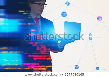 Young man coding JAVA on cloud Stock photo © colematt