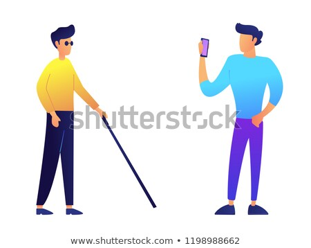 Blind man with walking cane and user with mobile phone vector illustration. Stock photo © RAStudio