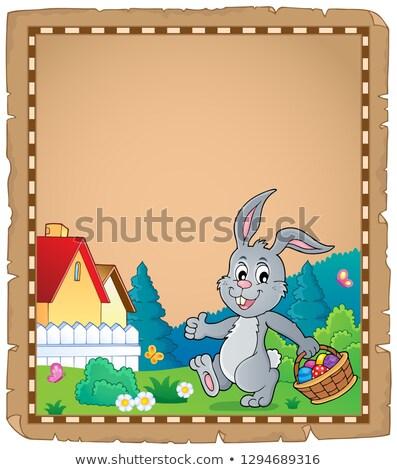 Pâques lapin parchemin papier heureux oeuf Photo stock © clairev