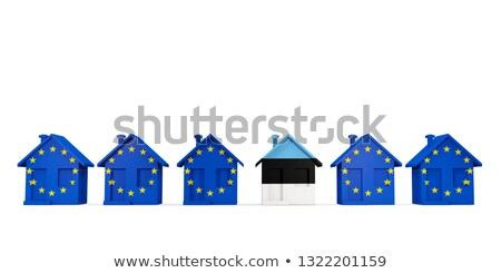 House with flag of estonia in a row of EU flags Stock photo © MikhailMishchenko