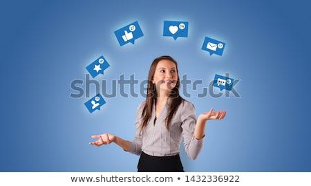 Person juggle with social media symbols Stock photo © ra2studio