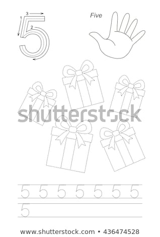 Stock photo: Number five tracing alphabet worksheets
