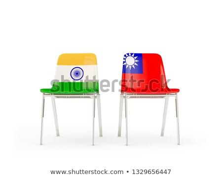 Iki sandalye bayraklar Hindistan Tayvan yalıtılmış Stok fotoğraf © MikhailMishchenko