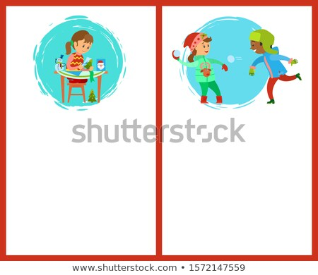 handcrafted handmade gifts and snowball fight stock photo © robuart
