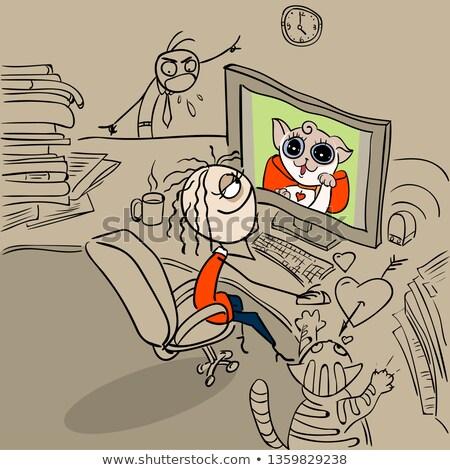 промедление женщину работник кошки экране Сток-фото © orensila