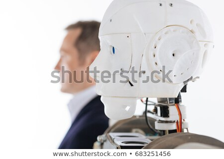 Inventor engineer and robot. isolate on white background Stock photo © studiostoks