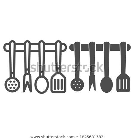 Kitchen Utensils Line Web Glyph Stock photo © Anna_leni