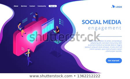 Social media engagement isometric 3D landing page. Zdjęcia stock © RAStudio
