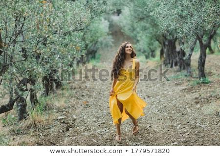 nő · kert · gyümölcsfa · kint · munka · gyönyörű - stock fotó © anna_om