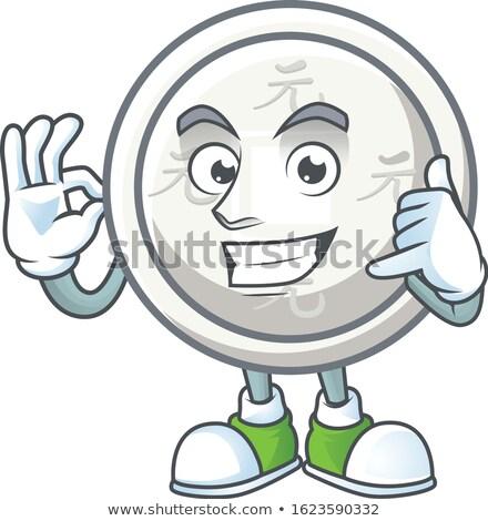Munt mascotte okay illustratie tonen teken Stockfoto © lenm