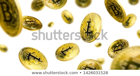 Oro bitcoin monedas vuelo blanco fondo Foto stock © butenkow