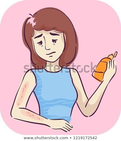 Lány tünet bőr termékek illusztráció tart Stock fotó © lenm