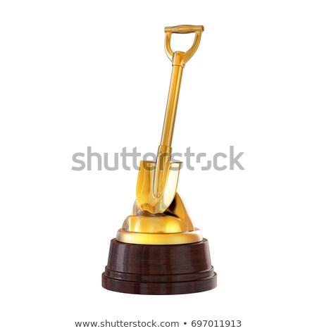 3D Geschäftsmann stehen Gold Trophäe Tasse Stock foto © 3dmask