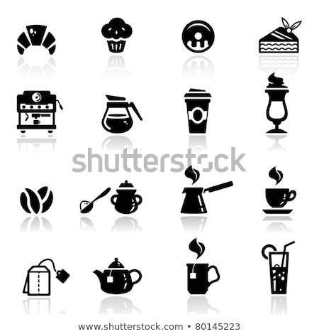 Foto stock: Muffin Coffee Mug And Croissant Breakfast Vector Illustration