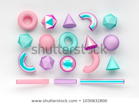 cube - 3D geometric shape with holographic gradient isolated on white background vector Stock photo © MarySan