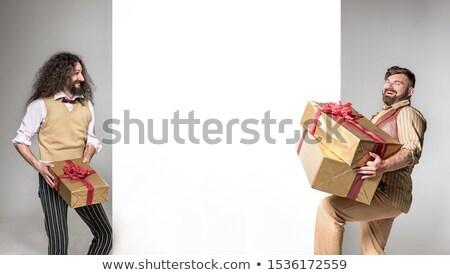 Iki hediyeler boş tahta Stok fotoğraf © majdansky