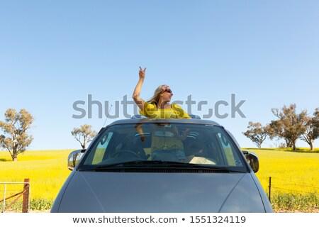Female good vibes road trip rural countryside Stock photo © lovleah