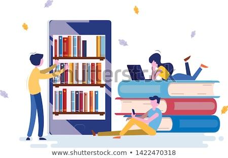 eletrônico · biblioteca · estudante · acessar · livros · vetor - foto stock © robuart