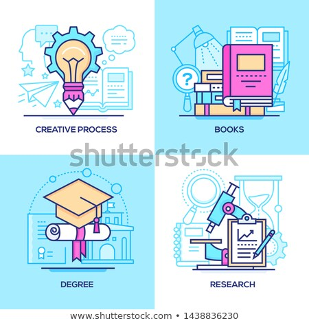 Business processes - line design style banners set Stock photo © Decorwithme