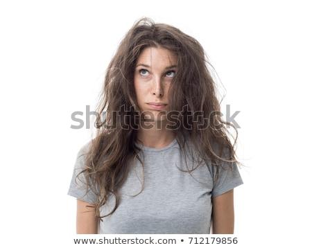 Jeune femme frustré salissant cheveux fille mode Photo stock © Elnur