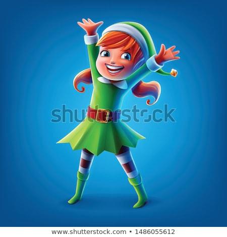 Xmas Character, Elf Kid Female Christmas Dwarf Stock photo © robuart