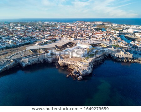 Aerial View Of Peniche Fortress And City At Sunset Stock photo © diego_cervo