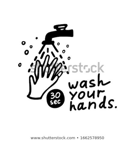Kezek mosás vízcsap ikon skicc illusztráció Stock fotó © pikepicture